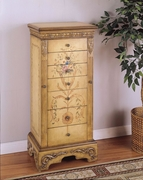 Antique Parchment Hand Painted Jewelry Armoire by Powell Furniture Masterpiece Accessories Collection 173-582-314