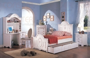 4 Piece Twin Bed Set With Panel Bed, Nightstand, Dresser and Mirror by Coaster Fine Furniture Sophie Collection 635-400101T-BDF1-4