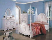 4 Piece Twin Bed Set With Poster Bed, Nightstand, Dresser and Mirror by Coaster Fine Furniture Sophie Collection 635-400100T-BDF1-4