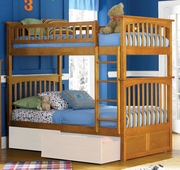 5 Piece Twin/Twin Bunk Bed - Caramel Latte by Atlantic Furniture Columbia Collection 259-AB55307-BDF1-5