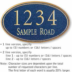 Salsbury industries 1432C Custom Plaque-Signature Series-Oval-Large-Cobalt Blue