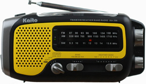 Kaito Electronics KA350-YELLOW KA350 Handheld Hand Crank Solar Powered AM/FM/SW Radio w/ Cell Phone Charger Output