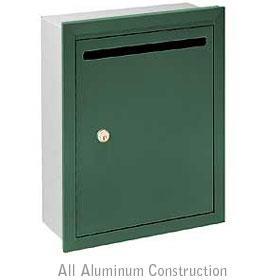 Salsbury industries 2245GP Letter Box-Standard-Recessed Mounted-Green-Private Access-with (2) Keys