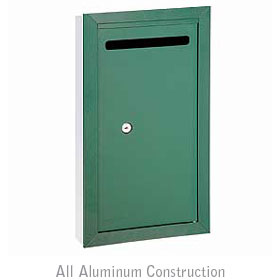 Salsbury industries 2265GP Letter Box-Slim-Recessed Mounted-Green-Private Access-with (2) Keys