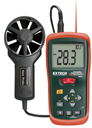 Extech AN200-NIST CFM/CMM Mini Thermo-Anemometer with built-in InfaRed Thermometer (NIST Certified)