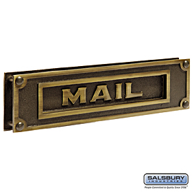 Salsbury industries 4075A Mail Slot-Deluxe-Solid Brass-Antique Finish