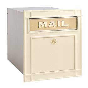 Salsbury Industries 4145BGP Column Mailbox-with Slot-Beige-Plain Door-Lock with (2) Keys