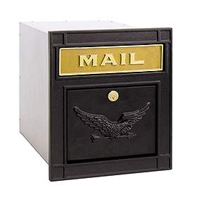 Salsbury Industries 4145BKE Column Mailbox-with Slot-Black-Eagle Door-Lock with (2) Keys