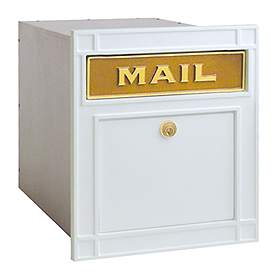 Salsbury Industries 4145WHP Column Mailbox-with Slot-White-Plain Door-Lock with (2) Keys
