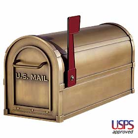 Salsbury industries 4850A-BRS Antique Rural Mailbox-Brass Finish