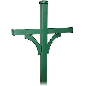 Salsbury industries 4874GRN Deluxe Mailbox Post-2 Sided For (4) Mailboxes-in-Ground Mounted-Green Finish