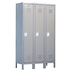 Salsbury industries 51368GY-U Extra Wide Standard Locker-Single Tier -3 Wide-6 Feet High-18 inches Deep-Gray-Unassembled
