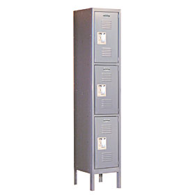 Salsbury industries 63158GY-A Triple Tier Standard Locker-1 Wide-5 Feet High-18 inches Deep-Gray-Assembled