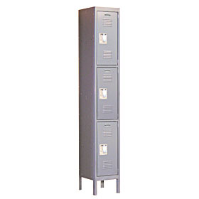 Salsbury industries 63162GY-U Triple Tier Standard Locker-1 Wide-6 Feet High-12 inches Deep-Gray-Unassembled