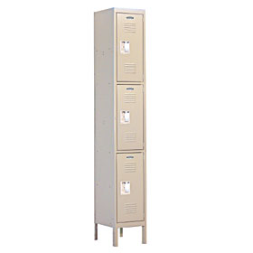 Salsbury industries 63162TN-A Triple Tier Standard Locker-1 Wide-6 Feet High-12 inches Deep-Tan-Assembled