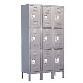 Salsbury industries 63358GY-A Triple Tier Standard Locker-3 Wide-5 Feet High-18 inches Deep-Gray-Assembled