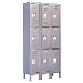 Salsbury industries 63365GY-U Triple Tier Standard Locker-3 Wide-6 Feet High-15 inches Deep-Gray-Unassembled