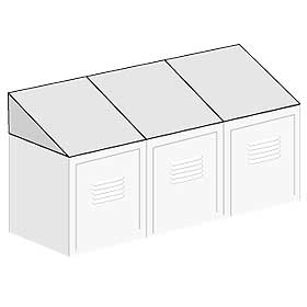 Salsbury industries 77758GY Sloping Hood-For up to (3) 12 inch Wide Lockers -18 inch Deep-Gray