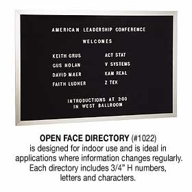 Salsbury industries 1022 Open Face Directory-Aluminum Finish