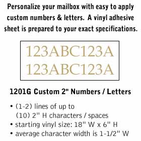 Salsbury industries 1201G Custom Numbers / Letters-Horizontal-Gold Vinyl-2 inches High