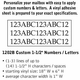 Salsbury industries 1202B Custom Numbers / Letters-Horizontal-Black Vinyl-1.5 inches High