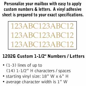 Salsbury industries 1202G Custom Numbers / Letters-Horizontal-Gold Vinyl-1.5 inches High