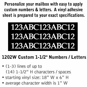 Salsbury industries 1202W Custom Numbers / Letters-Horizontal-White Vinyl-1.5 inches High