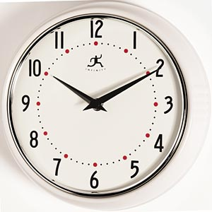 Infinity Instruments 10940 10940-WHITE White Retro Round Metal Wall Clock