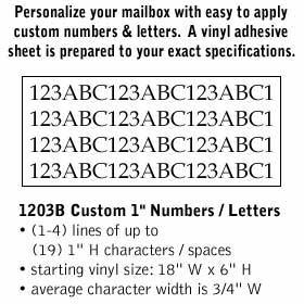 Salsbury industries 1203B Custom Numbers / Letters-Horizontal-Black Vinyl-1 inch High