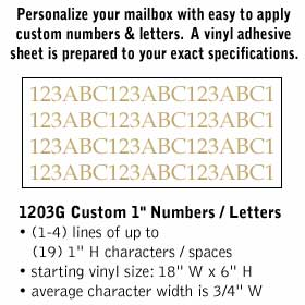 Salsbury industries 1203G Custom Numbers / Letters-Horizontal-Gold Vinyl-1 inch High