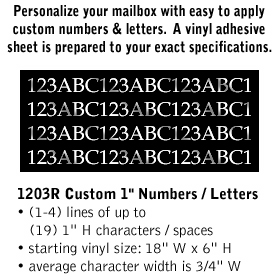 Salsbury industries 1203R Custom Numbers / Letters-Horizontal-Reflective Vinyl-1 inch High