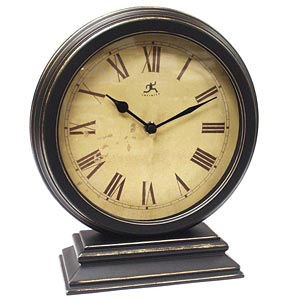 Infinity Instruments 12131KG-TW The Dais - Distressed Round Table Clock
