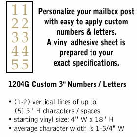 Salsbury Industries 1204G Custom Numbers / Letters - Vertical - Gold Vinyl - 3 inches High
