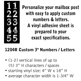 Salsbury industries 1204R Custom Numbers / Letters-Vertical-Reflective Vinyl-3 inches High