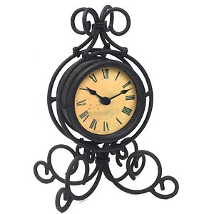 Infinity Instruments 12297BK-1427 The Grace - Black Wrought Iron Table Clock
