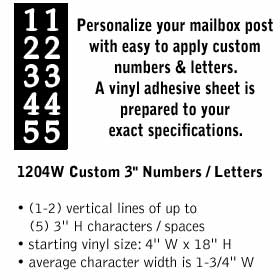 Salsbury industries 1204W Custom Numbers / Letters-Vertical-White Vinyl-3 inches High