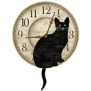Infinity Instruments 12684 Wagging Cat Tail Pendulum Clock