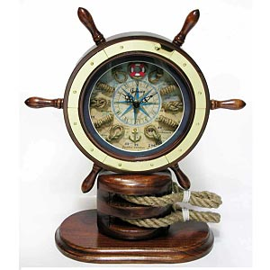 Infinity Instruments 13137WL-2350 Catalina Ships Wheel Clock w/Rope Knot Accents