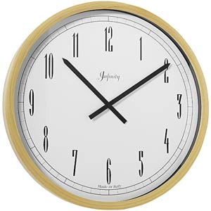 Infinity Instruments BOR052 Italian Beech Wood Wall Clock-Natural Finish-Arabic Numbers
