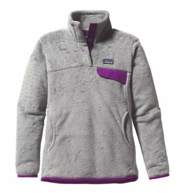 Patagonia Womens Re-Tool Snap-T Pullover Tailored Grey: Nickel X-Dye with Ikat Purple