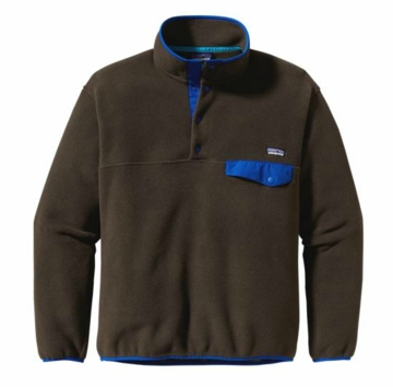 Patagonia Mens Synchilla Snap-T Pullover Dark Walnut with Viking Blue (Autumn 2013)
