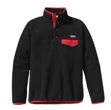 Patagonia Womens Lightweight Synchilla Snap-T Pullover Black with Red Delicious  (Past Season)