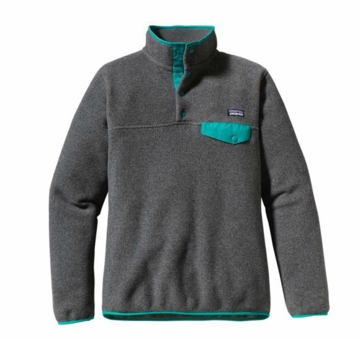 Patagonia Womens Lightweight Synchilla Snap-T Pullover Nickel w/ Teal Green (Autumn 2013)