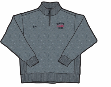 Denison Nike 1/4 Zip Sueded Fleece Onyx Heather