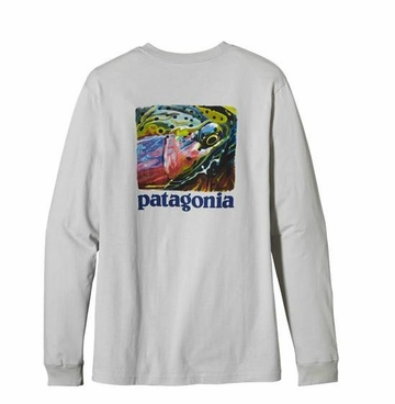 Patagonia Mens Long-Sleeved World Trout Fire T-Shirt Tailored Grey (Autumn 2013)