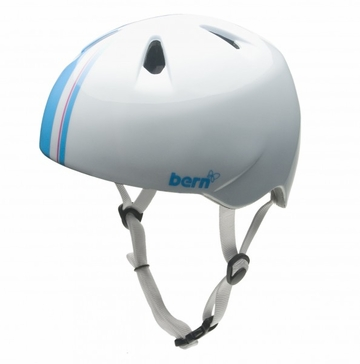 Bern Girls Nina  Helmet Summer Gloss White Racing Stripe