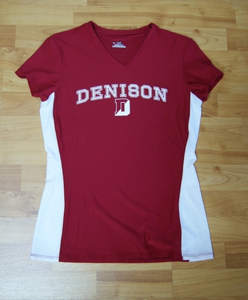 Denison Womens V-Neck Tee Red
