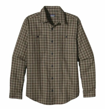 Patagonia Mens Long-Sleeved Pima Cotton Shirt Harding: Willow Herb Green (Autumn 2013)