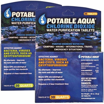 Portable Aqua Chlorine Dioxide Tablets 30 Pack