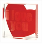 I Love You Glass Paperweight